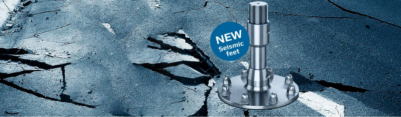 Seismic feet for use in hygienic environments